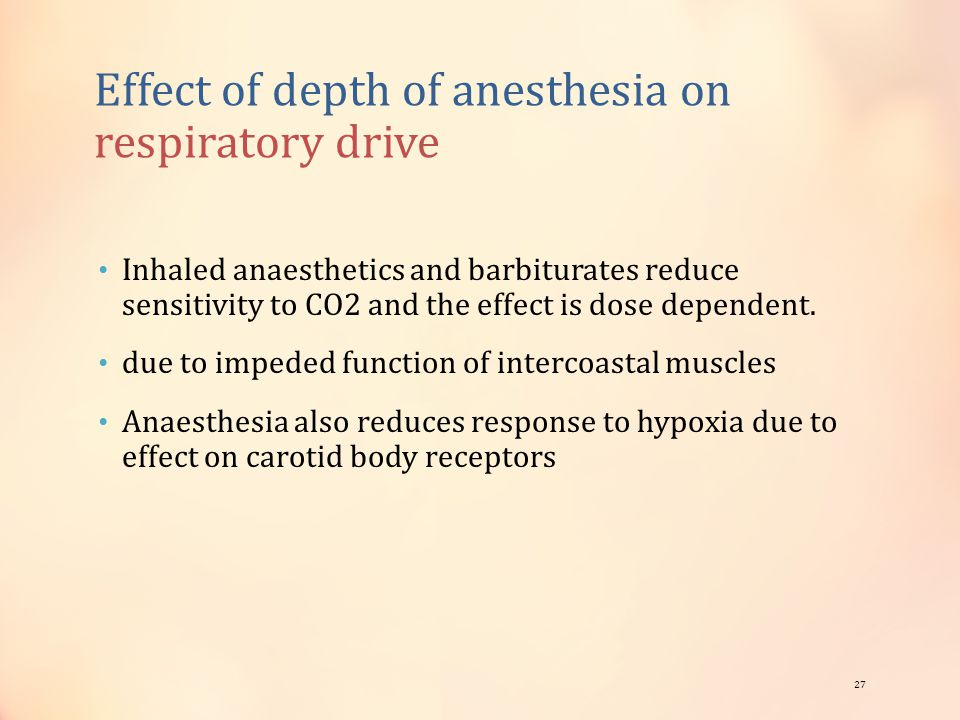 Effect of depth of anesthesia on respiratory drive