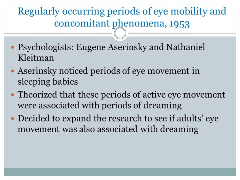 Regularly occurring periods of eye mobility and concomitant phenomena, 1953