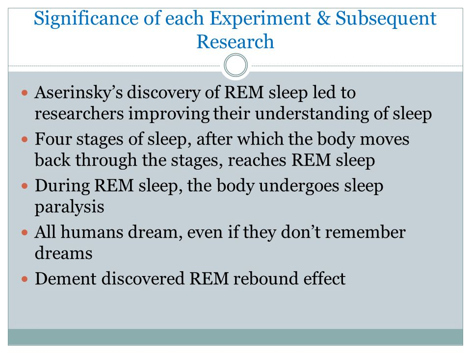 Significance of each Experiment & Subsequent Research