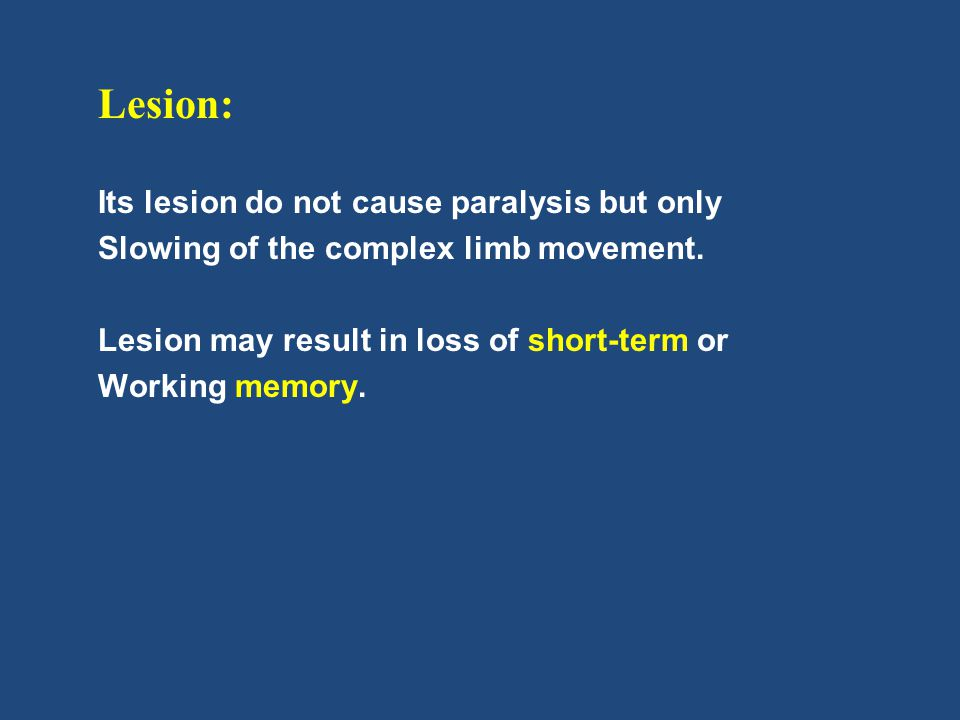 Lesion: Its lesion do not cause paralysis but only
