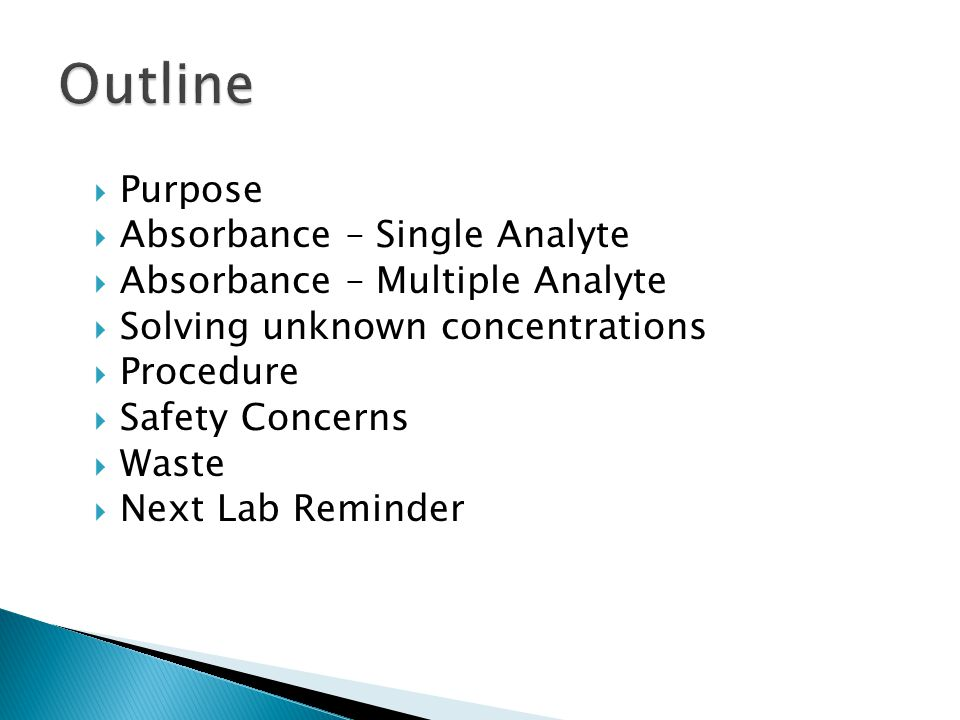 Outline Purpose Absorbance – Single Analyte