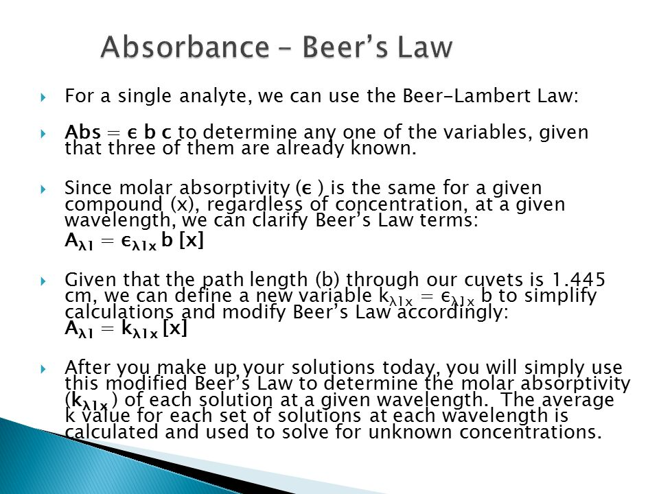 Absorbance – Beer's Law