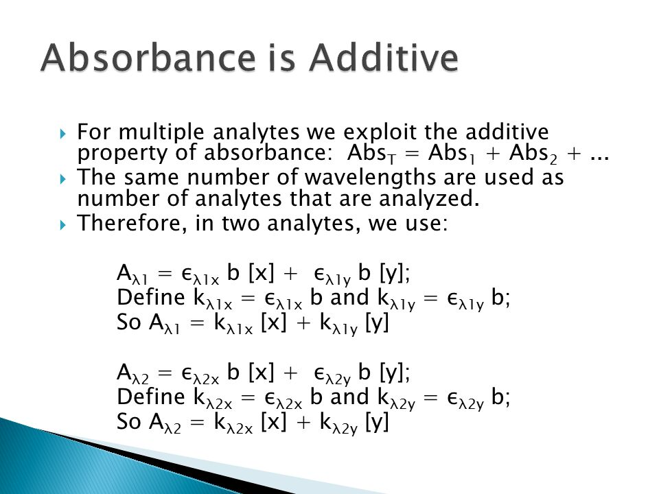 Absorbance is Additive