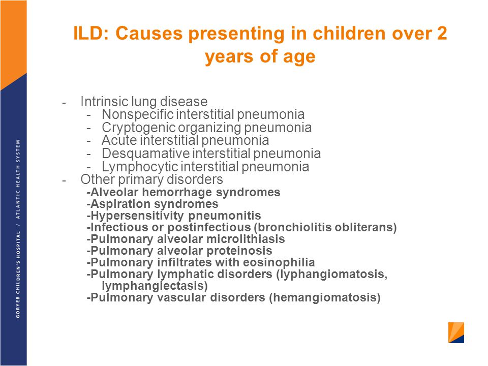 ILD: Causes presenting in children over 2 years of age