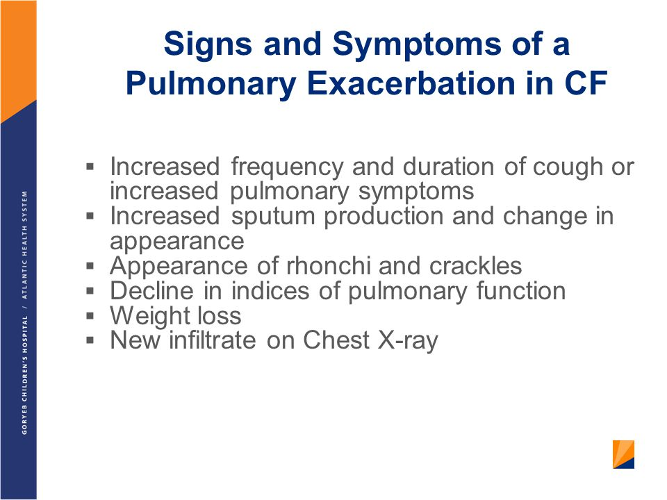Signs and Symptoms of a Pulmonary Exacerbation in CF