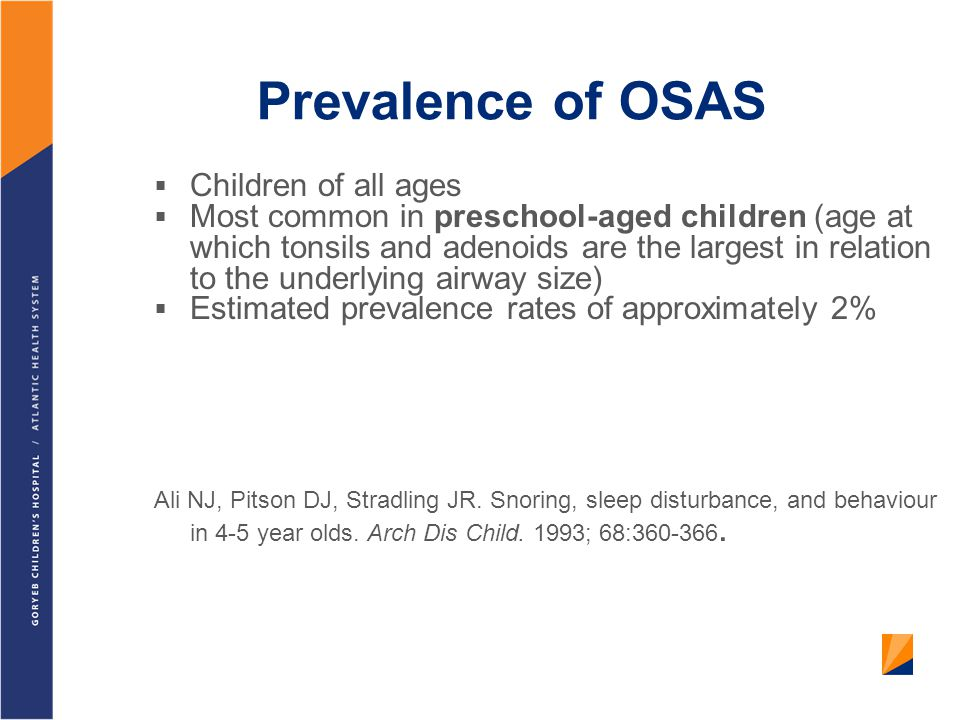 Prevalence of OSAS Children of all ages
