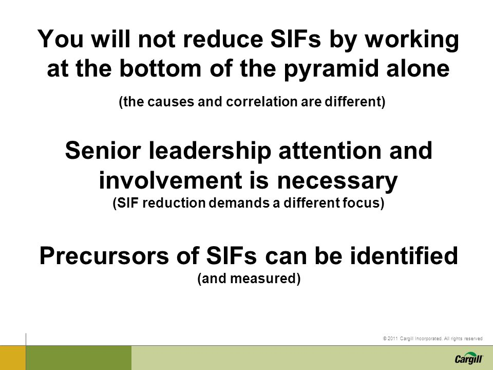 You will not reduce SIFs by working at the bottom of the pyramid alone (the causes and correlation are different) Senior leadership attention and involvement is necessary (SIF reduction demands a different focus) Precursors of SIFs can be identified (and measured)