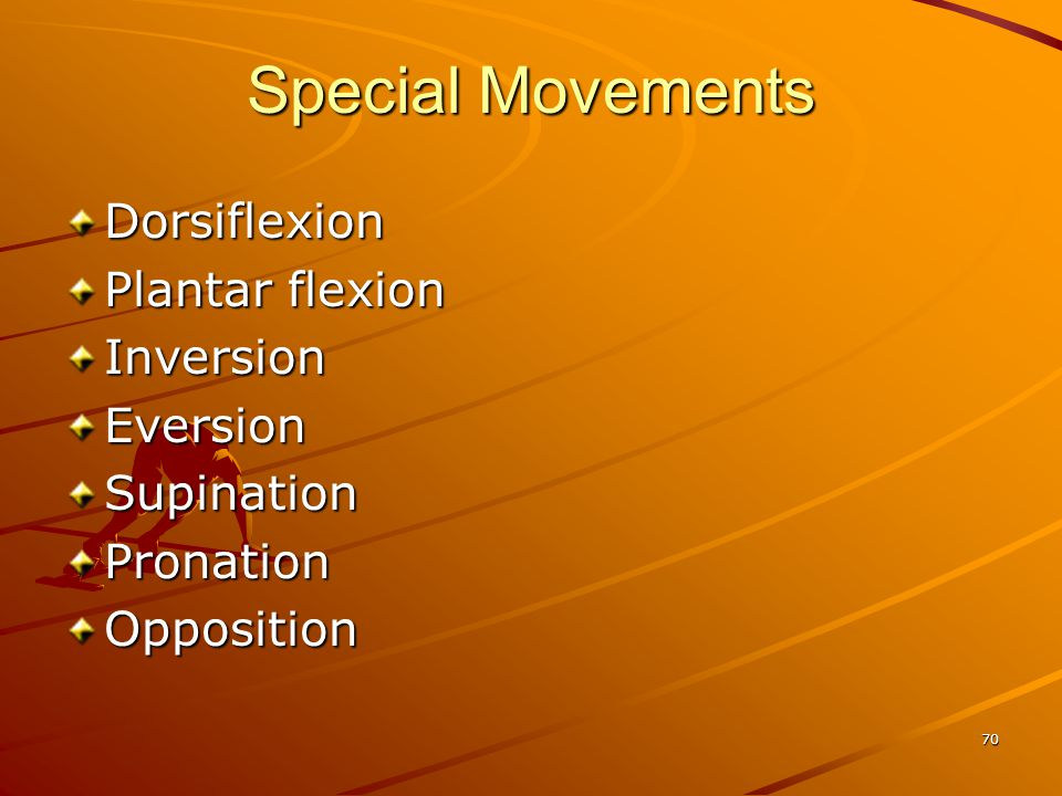 Special Movements Dorsiflexion Plantar flexion Inversion Eversion