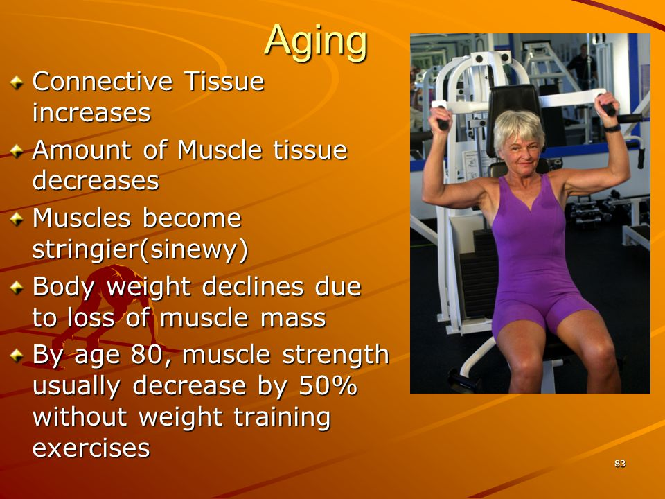 Aging Connective Tissue increases Amount of Muscle tissue decreases
