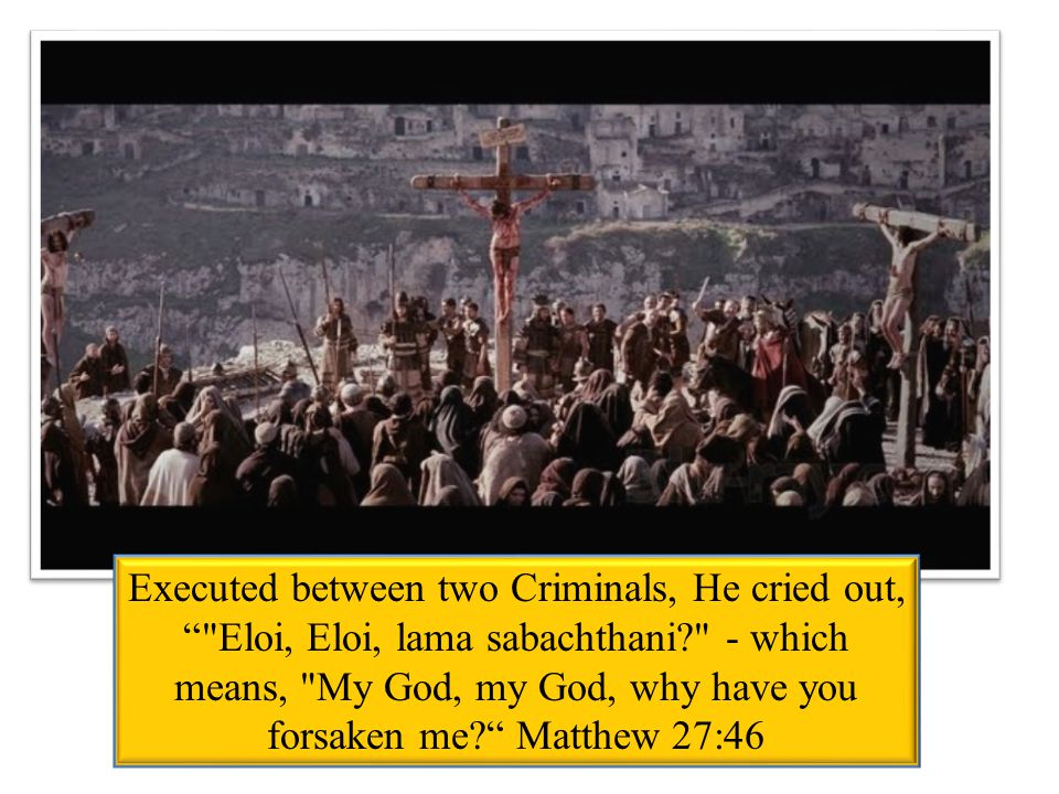 Executed between two Criminals, He cried out, Eloi, Eloi, lama sabachthani - which means, My God, my God, why have you forsaken me Matthew 27:46
