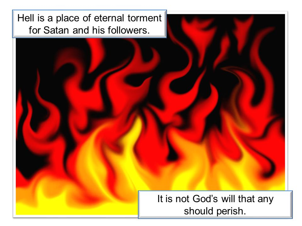 Hell is a place of eternal torment for Satan and his followers.