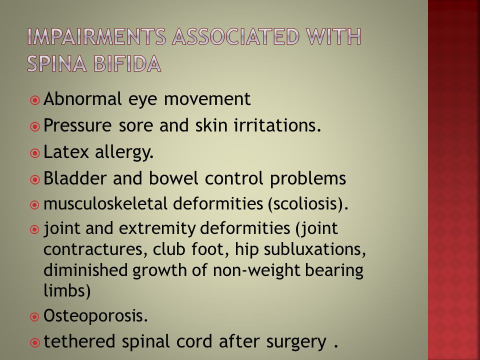 Impairments associated with Spina Bifida