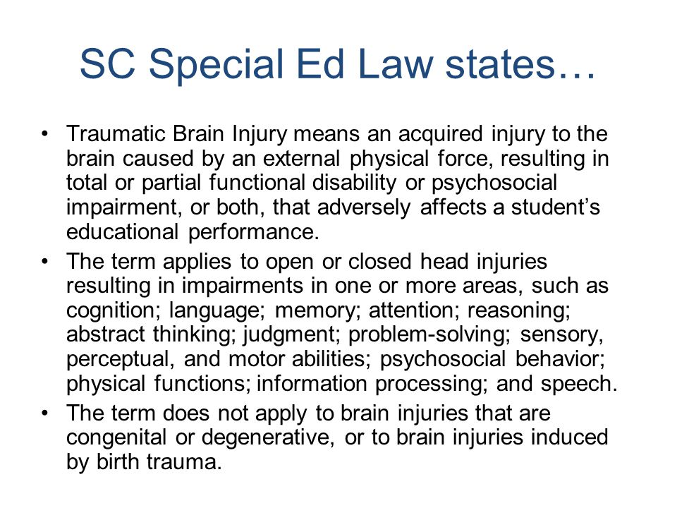 SC Special Ed Law states…