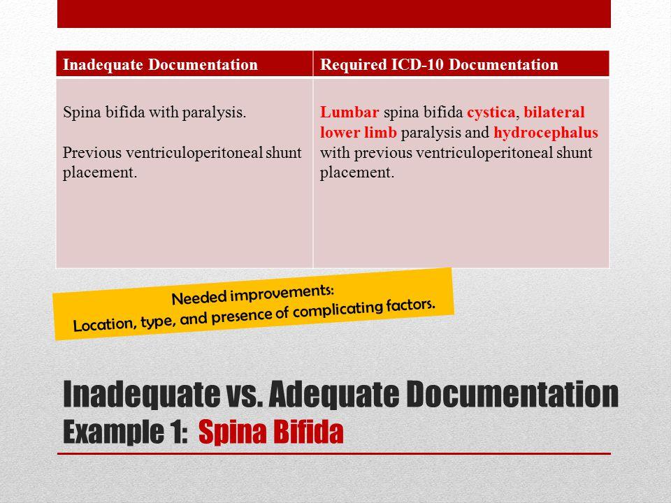 Inadequate vs. Adequate Documentation Example 1: Spina Bifida