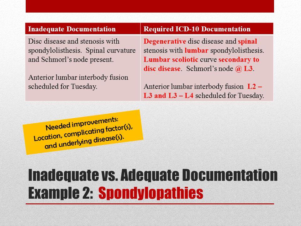 Inadequate vs. Adequate Documentation Example 2: Spondylopathies