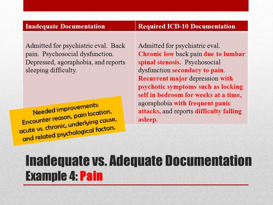Inadequate vs. Adequate Documentation Example 4: Pain