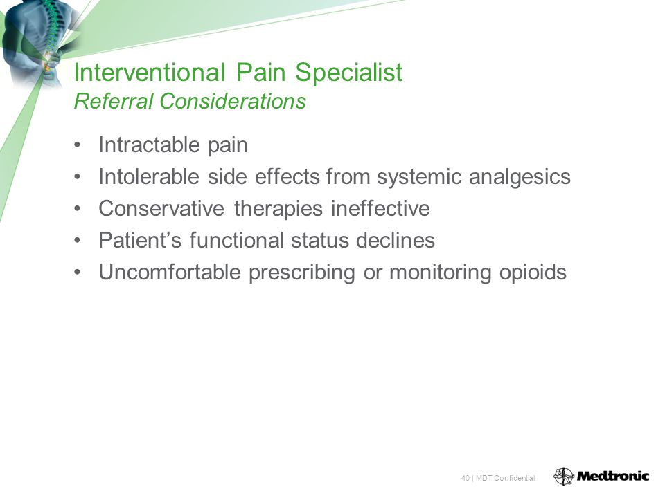 Interventional Pain Specialist Referral Considerations