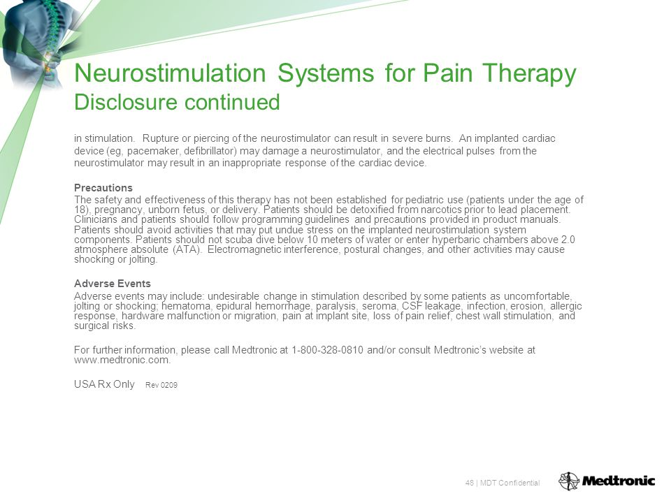 Neurostimulation Systems for Pain Therapy Disclosure continued