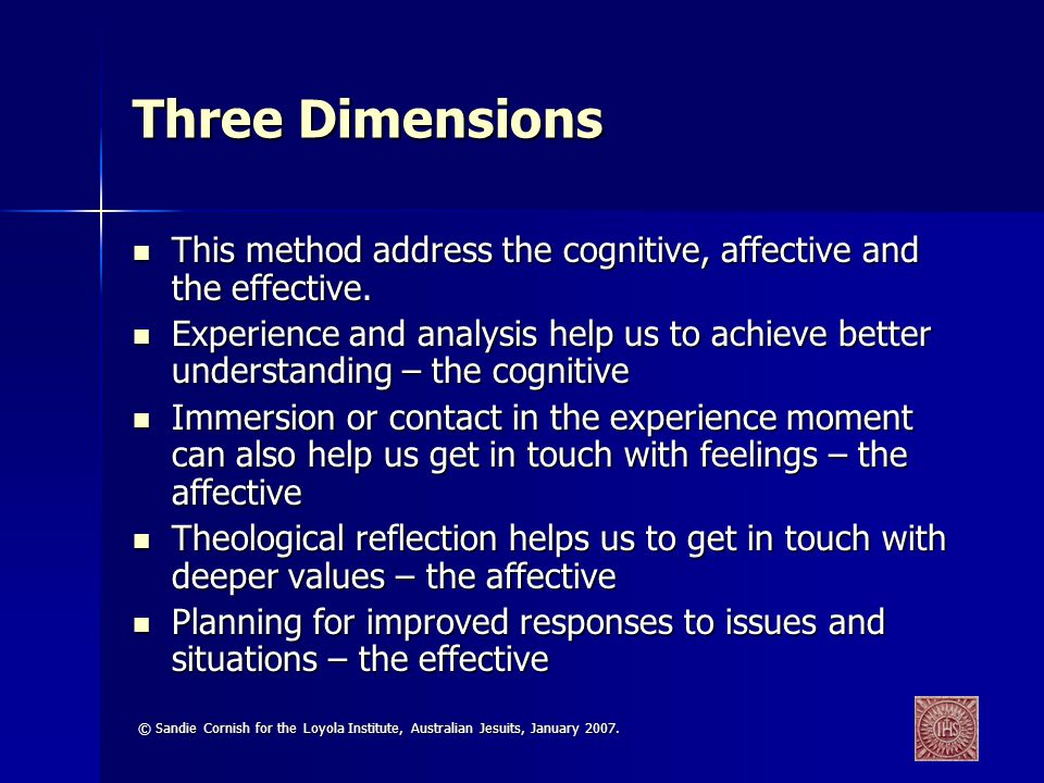 Three Dimensions This method address the cognitive, affective and the effective.