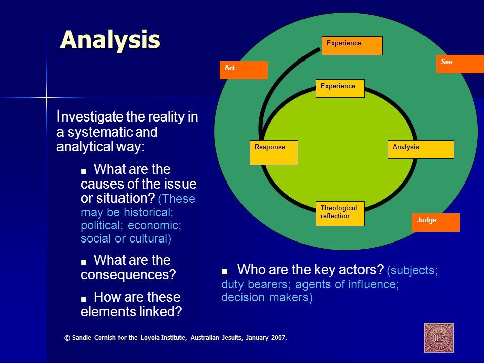 Analysis Investigate the reality in a systematic and analytical way: