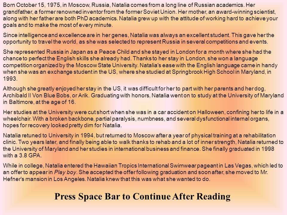 Press Space Bar to Continue After Reading