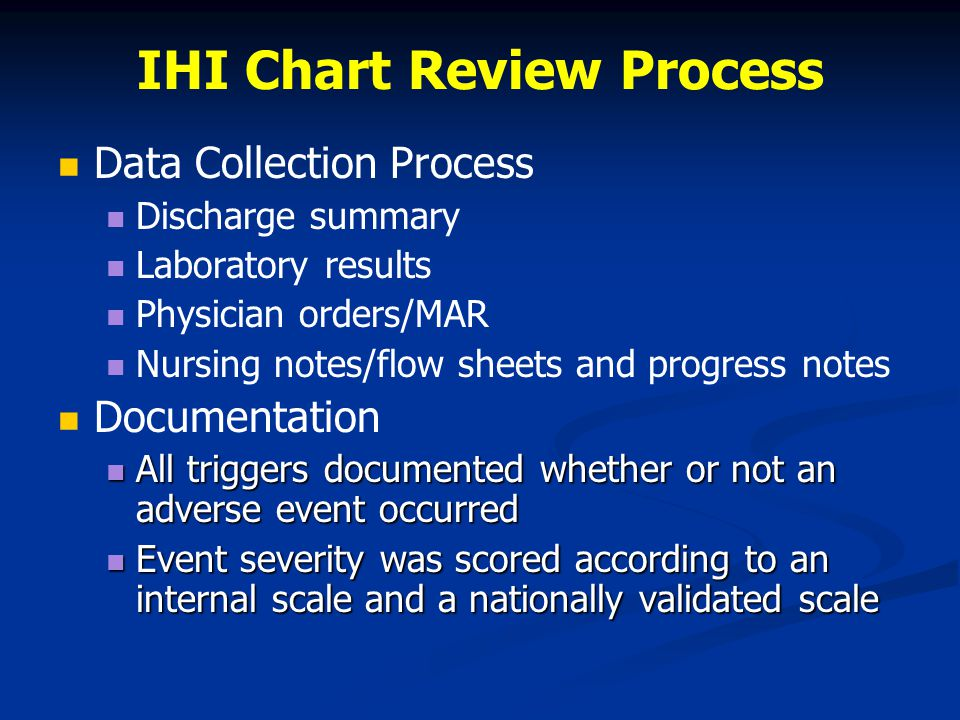 IHI Chart Review Process