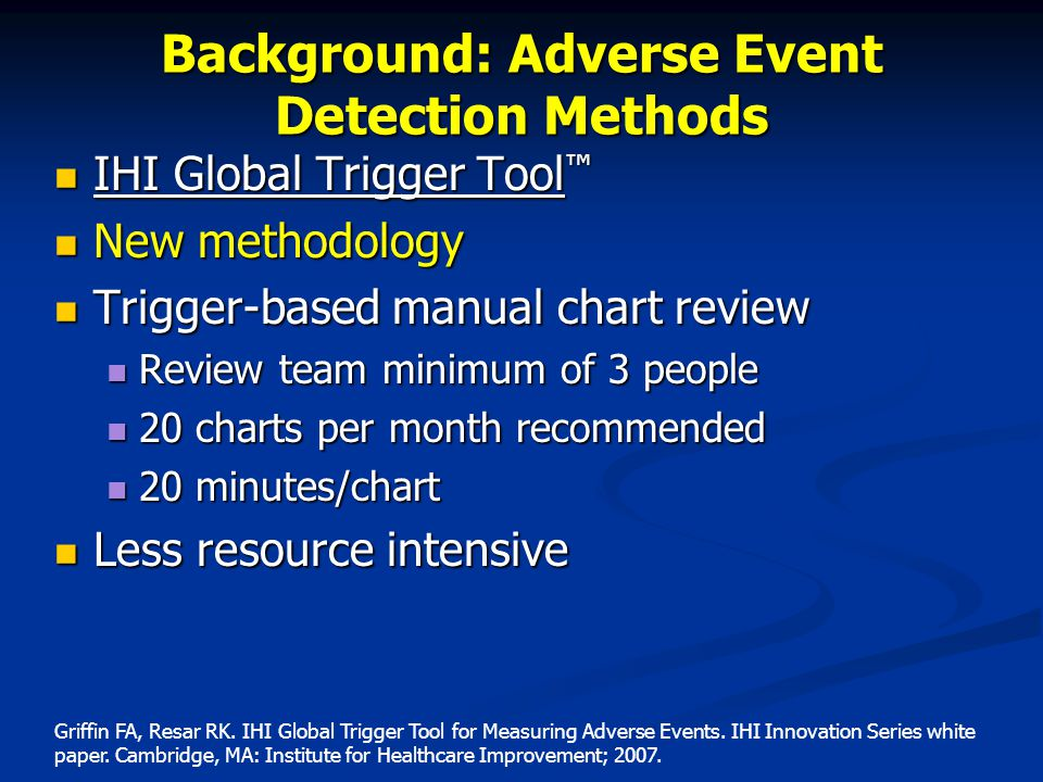 Background: Adverse Event Detection Methods