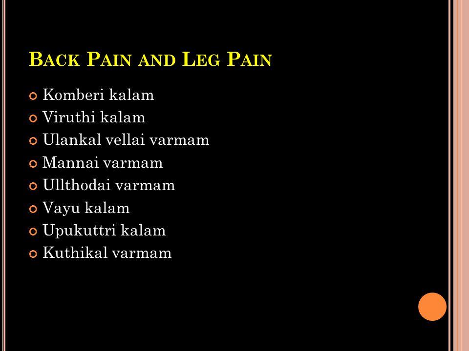 Back Pain and Leg Pain Komberi kalam Viruthi kalam