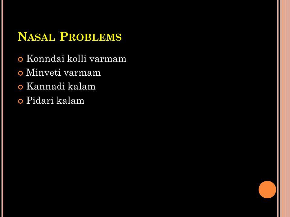 Nasal Problems Konndai kolli varmam Minveti varmam Kannadi kalam