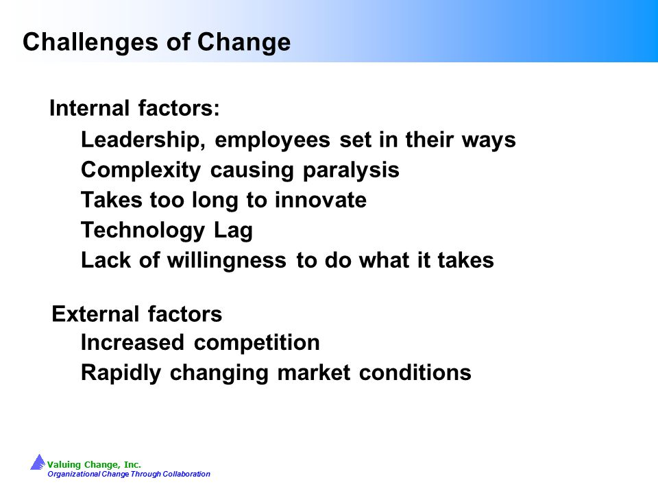 Challenges of Change Internal factors: