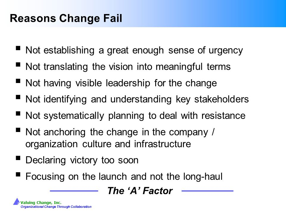 Reasons Change Fail Not establishing a great enough sense of urgency
