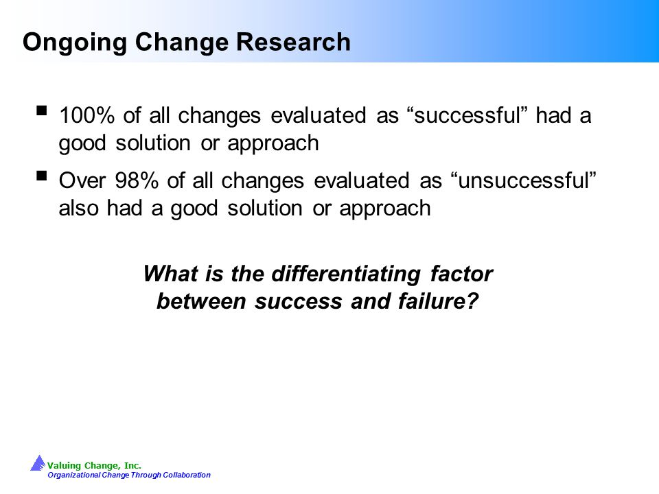 Ongoing Change Research