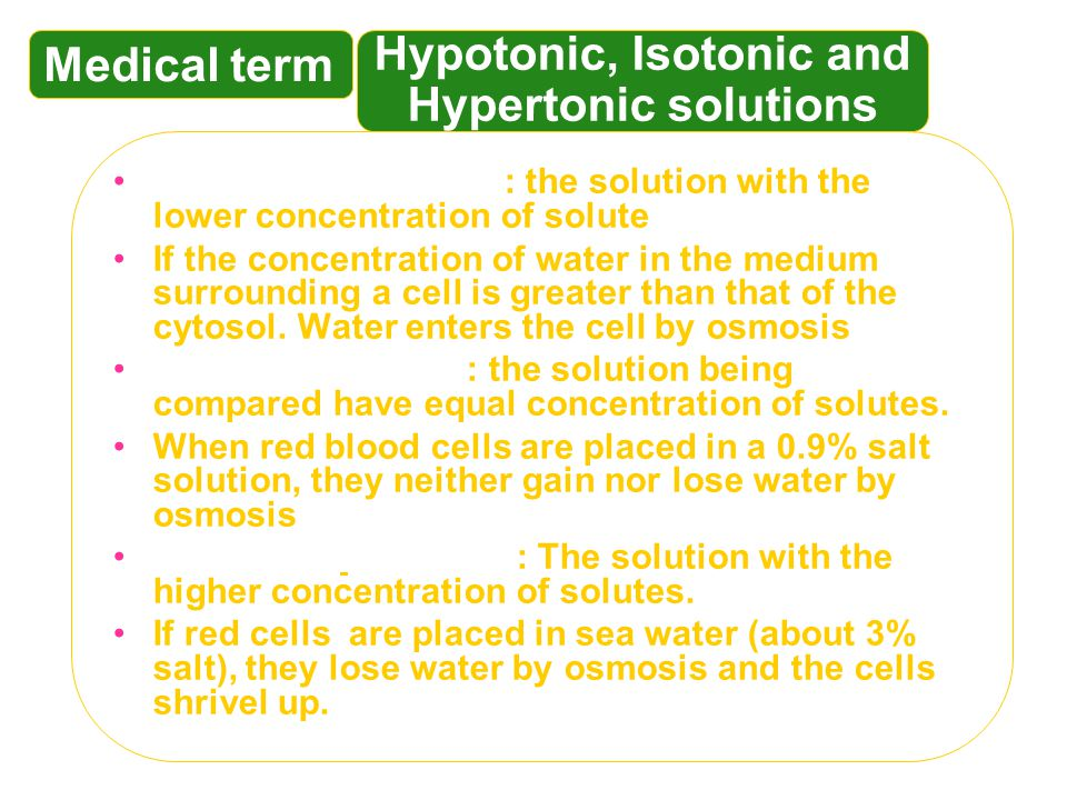 Hypotonic, Isotonic and Hypertonic solutions