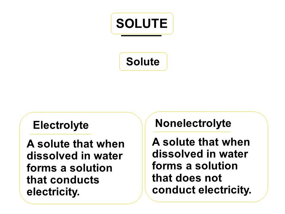 SOLUTE Solute Electrolyte Nonelectrolyte