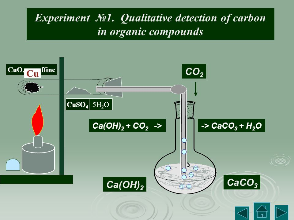 Experiment №1. Qualitative detection of carbon in organic compounds