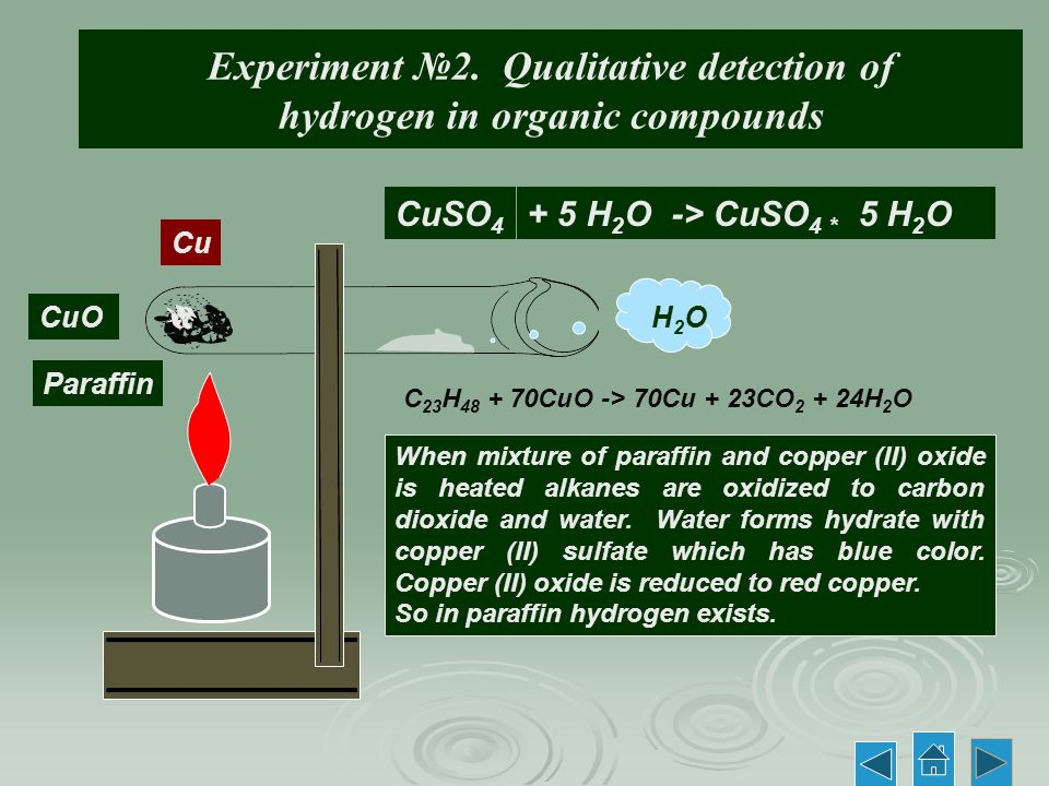 Experiment №2. Qualitative detection of hydrogen in organic compounds