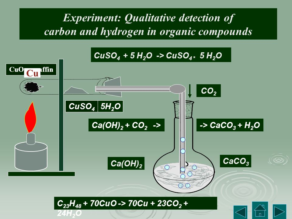 Experiment: Qualitative detection of carbon and hydrogen in organic compounds