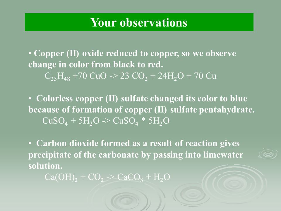 Your observations Copper (II) oxide reduced to copper, so we observe change in color from black to red.