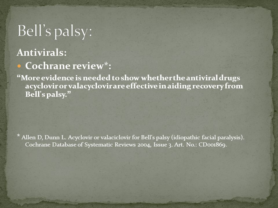Bell's palsy: Antivirals: Cochrane review*: