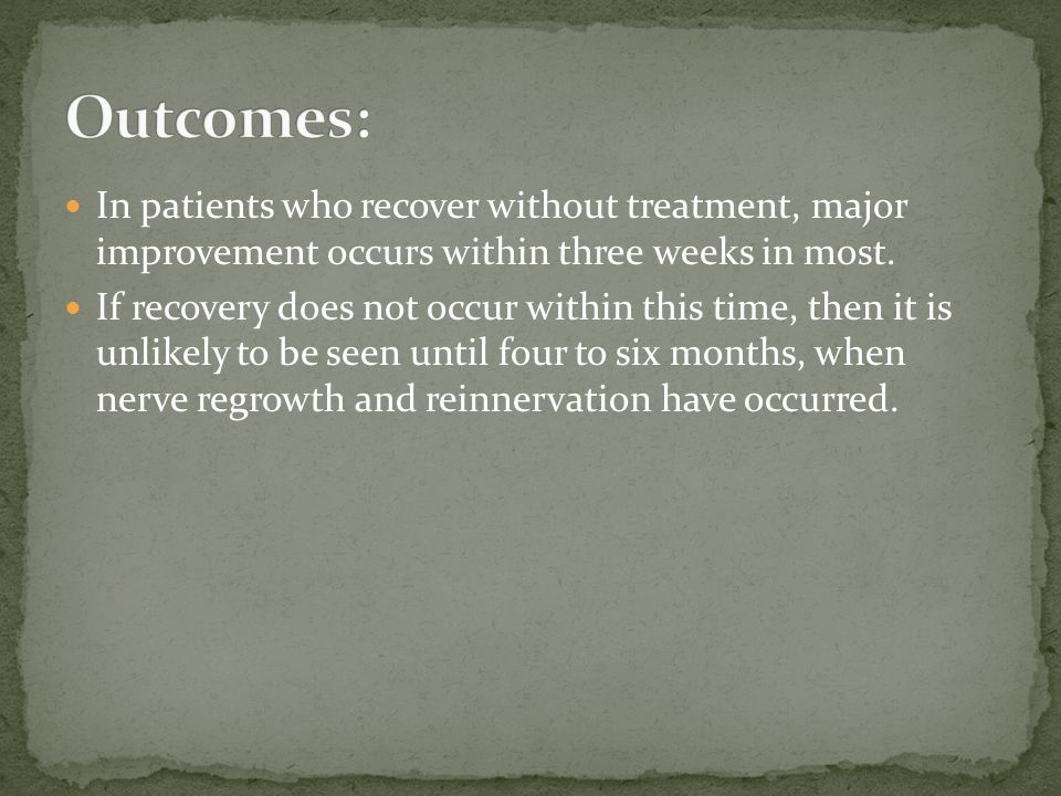 Outcomes: In patients who recover without treatment, major improvement occurs within three weeks in most.