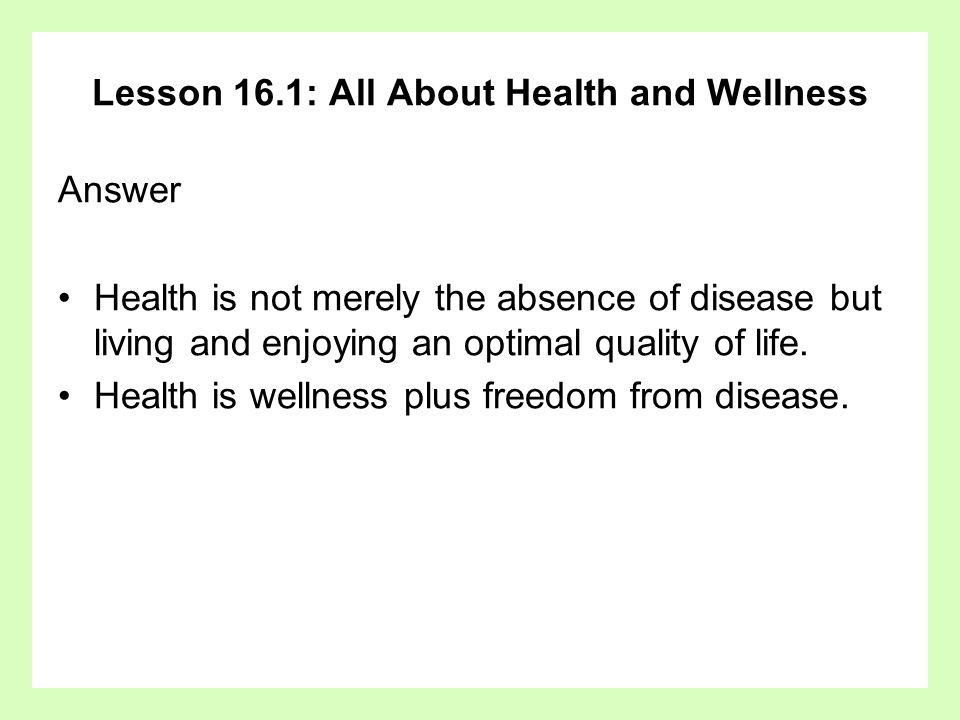 Lesson 16.1: All About Health and Wellness