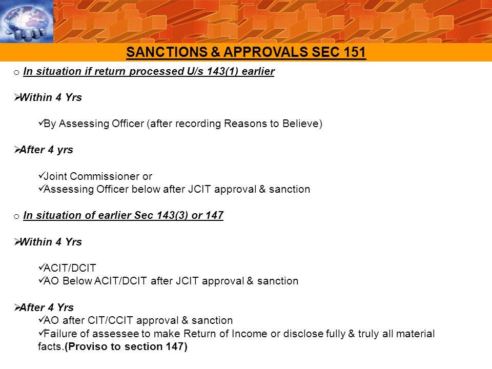 SANCTIONS & APPROVALS SEC 151