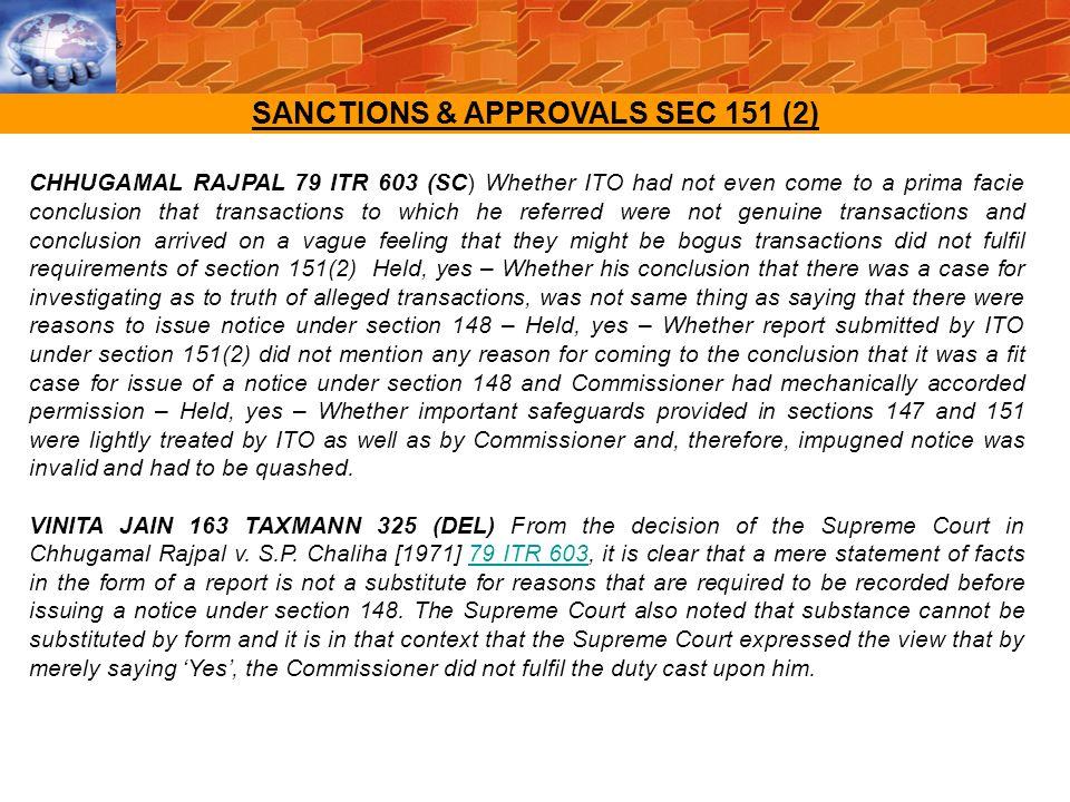 SANCTIONS & APPROVALS SEC 151 (2)