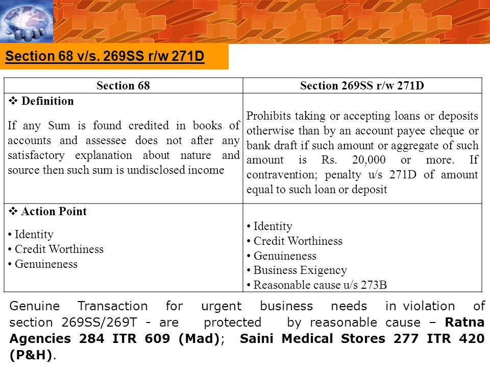 Section 68 v/s. 269SS r/w 271D Section 68 Section 269SS r/w 271D