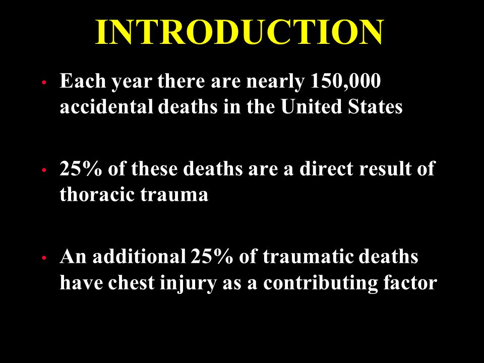 INTRODUCTION Each year there are nearly 150,000 accidental deaths in the United States. 25% of these deaths are a direct result of thoracic trauma.