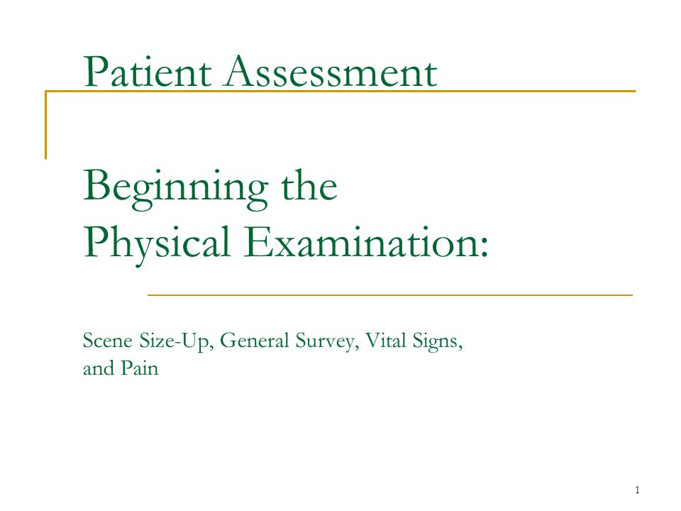 Patient Assessment Beginning the Physical Examination: Scene Size-Up, General Survey, Vital Signs, and Pain