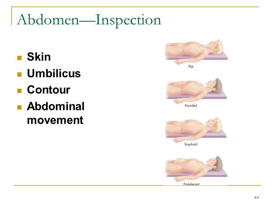 Abdomen—Inspection Skin Umbilicus Contour Abdominal movement