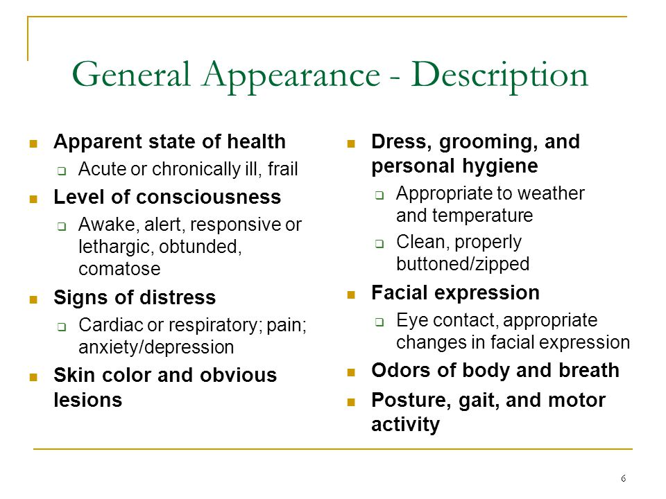 General Appearance - Description