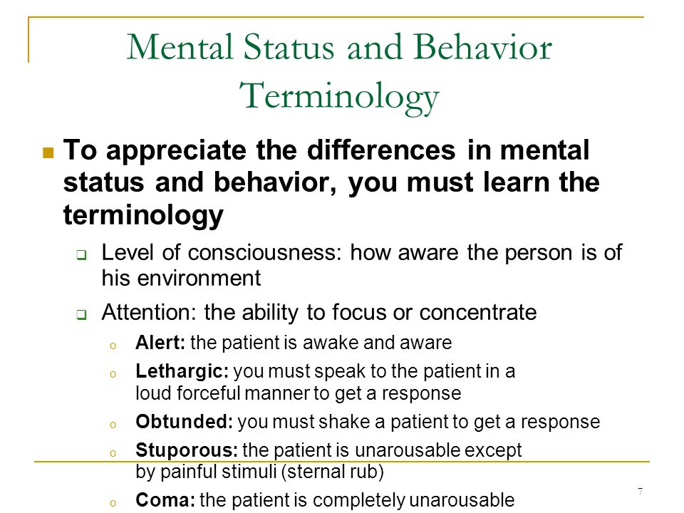 Mental Status and Behavior Terminology