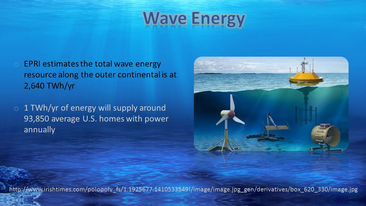 Wave Energy EPRI estimates the total wave energy resource along the outer continental is at 2,640 TWh/yr.